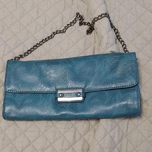 Turquoise snakeskin purse